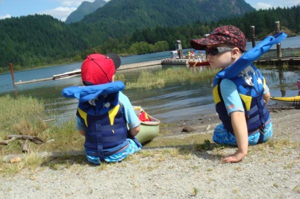 Launching the canoe at Pitt Lake