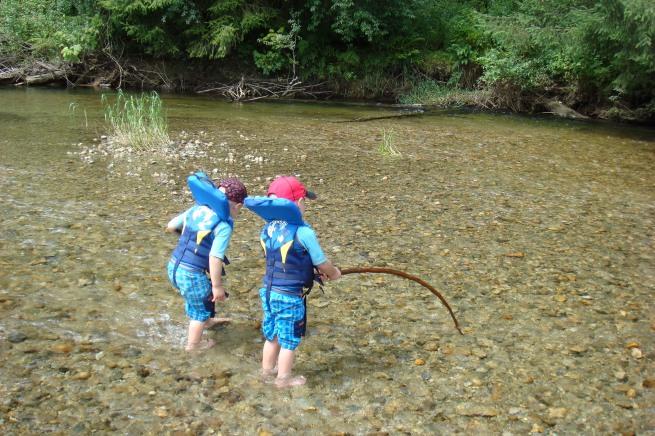 Boys playing at Widgeon Creek
